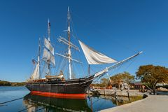 Charles W Morgan Wooden Whaleship image stock