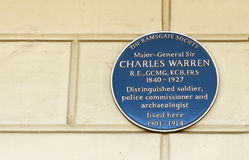 Charles Warren blue plaque. Soldier Charles Warren blue plaque in Ramsgate Royalty Free Stock Photography