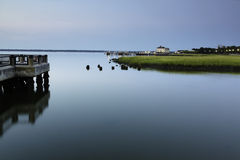Charleston Battery. Sunrise over Charleston Harbor facing the Battery Royalty Free Stock Photo