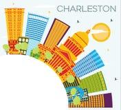 Charleston City Skyline avec les bâtiments de couleur, le ciel bleu et la copie illustration libre de droits