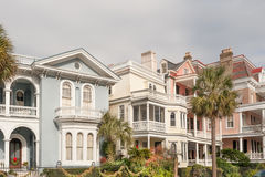 Charleston colonial houses. Historic pastel-colored mansions along Battery st in Charleston, SC stock photo