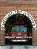 Charleston Fire Department. Fire Truck standing ready for service in Charleston South Carolina royalty free stock photography