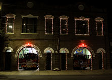 Charleston Fire Department at Christmas. Stock Photos