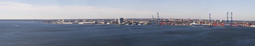 Charleston harbor panorama. Panoramic shot of entire charleston harbor Royalty Free Stock Photos