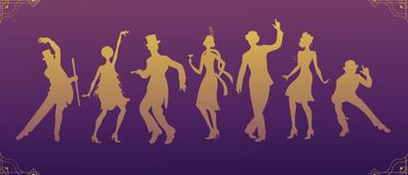 Charleston Party.black suit dancing man and woman gold silhouette .Gatsby style set. Group of retro man dancing charleston.Vintage. Dancer.1920 party vector Royalty Free Stock Photos