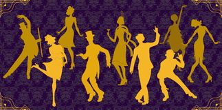 Charleston Party. Gatsby style set.Golden dancers silhouette. Group of retro woman and man dancing charleston. Charleston Party. Gatsby style set. Group of Royalty Free Stock Photo