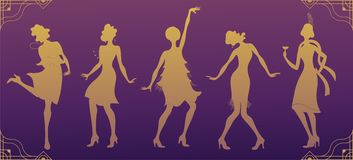 Charleston Party.Gold silhouette dancer.Gatsby style set. Group of retro woman dancing charleston.Vintage style. retro silhouette. Dancer.1920 party vector Royalty Free Stock Photo
