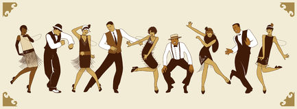 Charleston Party Grupp av ungdomarsom dansar charleston Arkivfoto