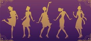 Charleston Party Guld- konturdansare Gatsby stiluppsättning Grupp av den retro kvinnan som dansar charleston tappning för stil fö vektor illustrationer