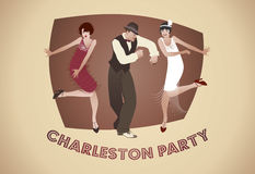 Charleston Party: Hombre y muchachas divertidas que bailan Charleston imagen de archivo