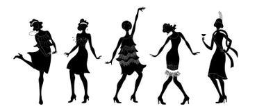 Charleston Party Insieme di stile di Gatsby Il gruppo di nero ballante della retro donna ha isolato la siluetta Charleston Stile  illustrazione vettoriale