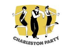 Charleston Party. Man and funny girls dancing charleston Stock Photos