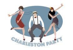Charleston Party: Man och roliga flickor som dansar charleston royaltyfri illustrationer