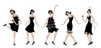 Charleston Party schwarzes Kleidertänzerinschattenbild Gatsby-Artsatz Gruppe der Retro- Frau Charleston tanzend Abbildung der rot lizenzfreie abbildung