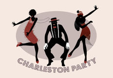 Charleston Party silhouettes. Man and funny girls dancing charleston. 1920s fashion style Royalty Free Stock Photo