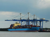 Charleston port. Shipping barge in charleston harbor Stock Images