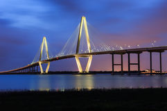 Charleston Ravenel Bridge Blue Hour SC Stock Image