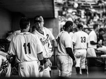Charleston RiverDogs coach Travis Chapman gives advise to Devyn Bolasky (11) Stock Photos