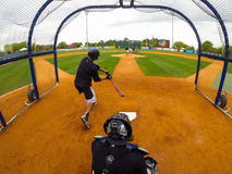2015 Charleston RiverDogs Media Day. The Charleston RiverDogs take batting practice in front of the media during the annual Media Day in anticipation of the Stock Image