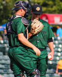 Charleston RiverDogs pitcher Justin Kamplain and Catcher Collin Slaybaugh. Royalty Free Stock Images