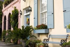 Charleston's Rainbow Row Stock Photo