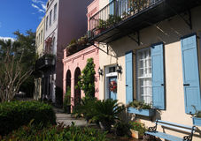 Charleston's Rainbow Row - Wide Stock Images