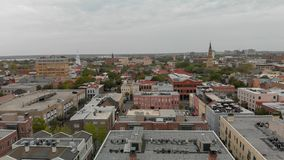 CHARLESTON, SC - APRIL 7, 2018: Aerial skyline of Charleston. Th. E city attracts 5 million tourists annually royalty free stock photos