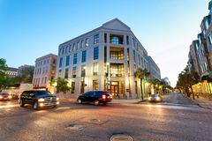 CHARLESTON, SC - APRIL 5, 2018: Tourists and city traffic at night. Charleston is a famous tourist attraction royalty free stock photography