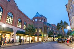 CHARLESTON, SC - APRIL 5, 2018: Tourists enjoy city center at ni. Ght. Charleston is a famous tourist attraction in South Carolina royalty free stock photos