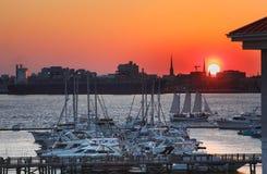 Charleston SC Harbor at Sunset Stock Photo
