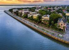 Charleston, Sc-horizon tijdens zonsondergang royalty-vrije stock foto