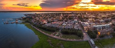 Charleston, SC skyline during sunset. Charleston skyline during sunset with a drone stock images