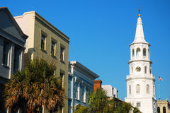 Charleston, SC. The steeple of St Michael`s church rises over Charleston`s downtown Royalty Free Stock Photo