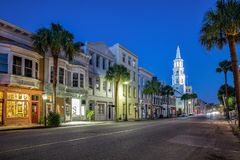 Charleston SC street view. Charleston street view in the evening during blue hour Stock Photography