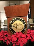 Speaker's Podium with School Stock Photo