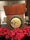Speaker's Podium with School Stock Photo