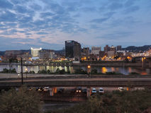 Charleston Skyline at Dusk. The Charleston Skyline at sunset across the Kanawha River stock images