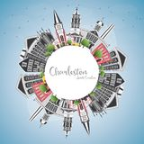 Charleston South Carolina City Skyline con Gray Buildings, azul stock de ilustración