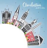 Charleston South Carolina City Skyline con Gray Buildings, blu illustrazione vettoriale