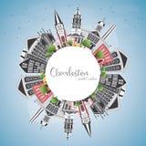 Charleston South Carolina City Skyline con Gray Buildings, blu illustrazione di stock