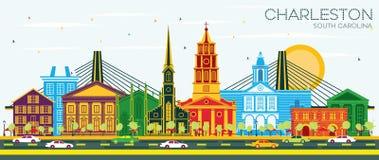 Charleston South Carolina City Skyline con le costruzioni ed il cielo blu di colore illustrazione di stock