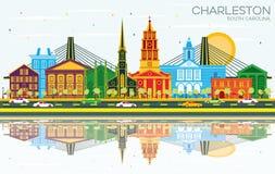 Charleston South Carolina City Skyline con le costruzioni, il cielo blu e le riflessioni di colore royalty illustrazione gratis