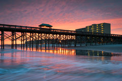 Charleston South Carolina Folly Beach Pier and Waterfront Development Royalty Free Stock Photos