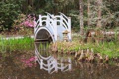 Charleston South Carolina Garden Bridge-Reflexion lizenzfreie stockbilder