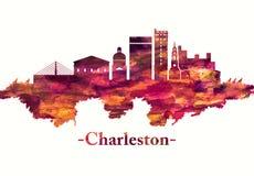 Charleston South Carolina horisont i rött vektor illustrationer