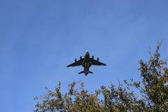 Charleston South Carolina January 23 2018 nivå för last för Boeing C17-flygvapen som lågt flyger till jordningen och över träd, m royaltyfria bilder