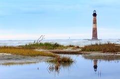 Charleston South Carolina Morris Island fyr Arkivbilder