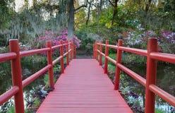 Charleston South Carolina Red Bridge-Magnolien-Garten lizenzfreies stockfoto