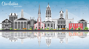 Charleston South Carolina Skyline con Gray Buildings, cielo azul stock de ilustración