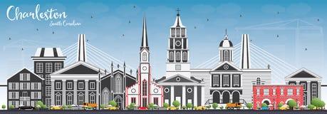 Charleston South Carolina Skyline con Gray Buildings e la S blu illustrazione di stock